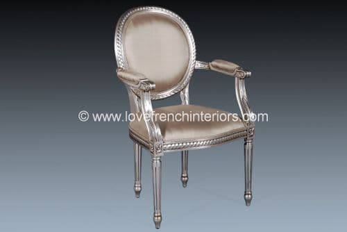Isabelle Upholstered Chair in Silver Leaf