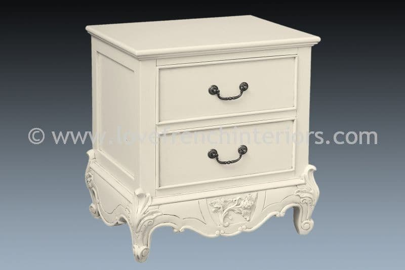 Louis 2 Drawer Bedside in Antique White