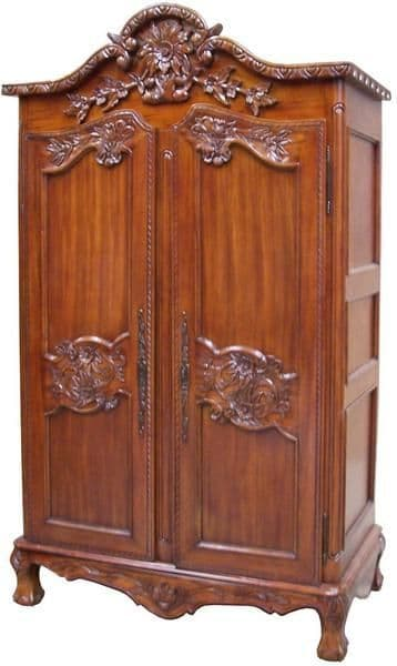 Louis Carved Double Armoire in Mahogany