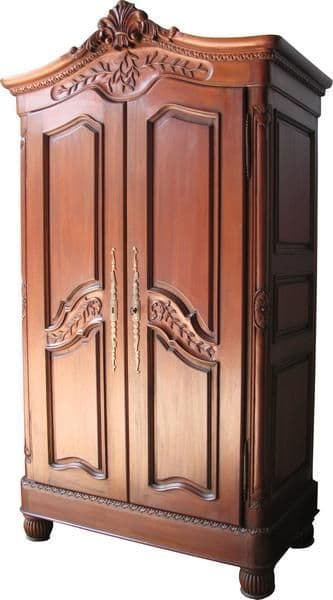 Louis Crested Armoire in Mahogany