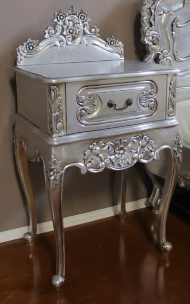 Louis One Drawer Silver Bedside Table