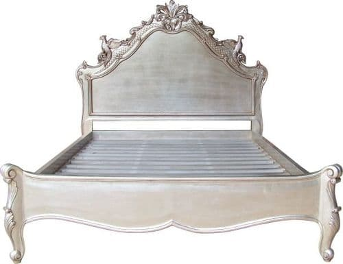 Louis Ornately Carved Gold or Silver Leaf Versailles Bed