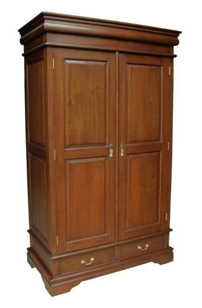 Louis Philippe Sleigh Armoire with Two Drawers