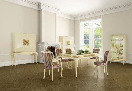 Luxus Dining Collection in Cream and Gold Leaf
