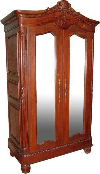 Mirrored French Crested Armoire