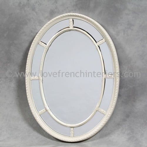 Oval White Mirror