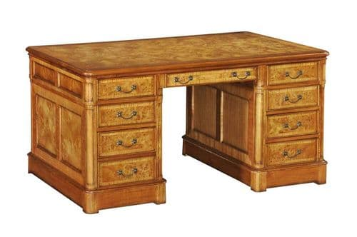 Pedestal Desk in Burr Walnut