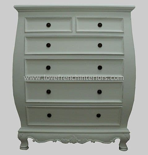 Rochelle 6 drawer (2 over 4) Bombe Chest in your choice of colour