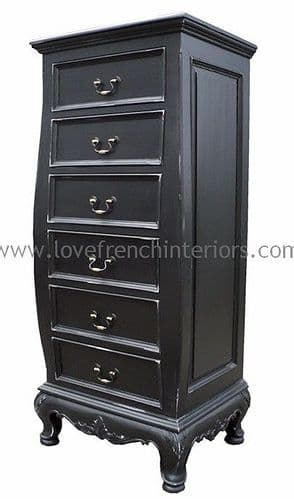Rochelle 6 Drawer Bombe Tallboy in your choice of colour