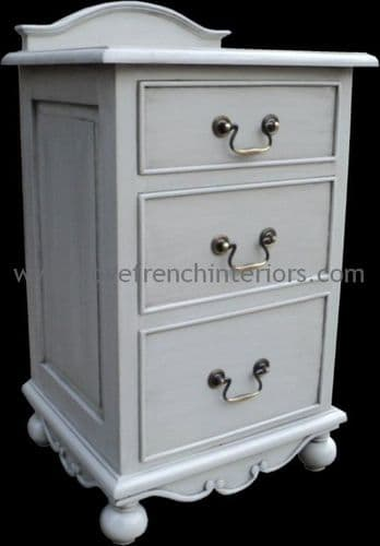 Rochelle Star 3 Drawer French Bedside in your choice of colour