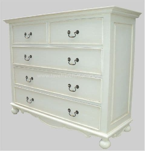 Rochelle Star 5 Drawer 100cm French Chest in your choice of colour