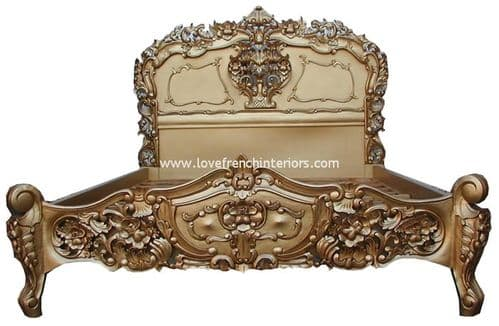 Rococo Ornately Carved French Bed in Antique Gold