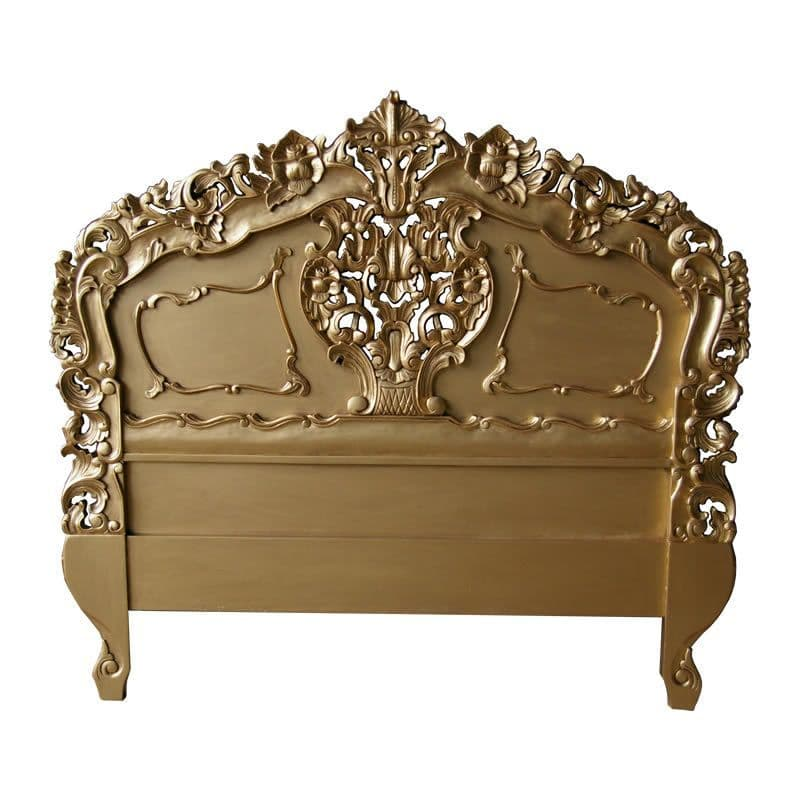 Rococo Ornately Carved Headboard in Antique Gold
