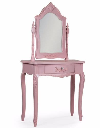Rose Pink French Dressing Table and Mirror