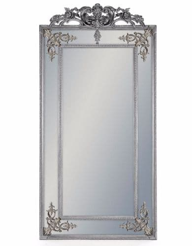 Silver French Crested Tall Slim Mirror