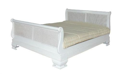 Sleigh Bed with Rattan and Regular Footboard