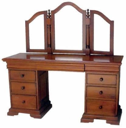 Sleigh Dressing Table, Mirror and Stool
