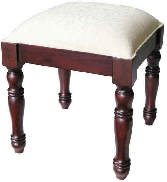 Sleigh Stool with Mahogany Frame