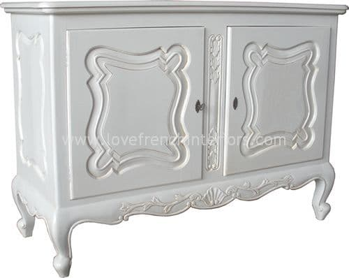 Two Door French Cabinet in Antique White