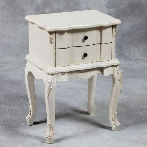 Two Drawer Rectangular Bedside in Cream
