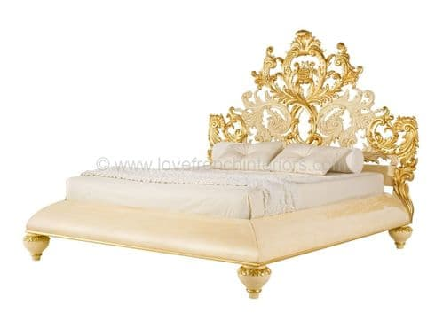 Venezia Bed with Carved Baroque Headboard