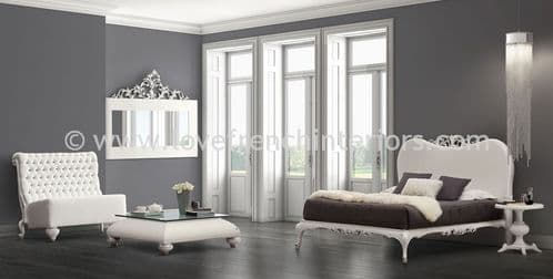 Venezia Bedroom Collection in White and Silver Leaf