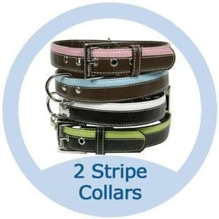 Leather Look Stripe Dog Collar