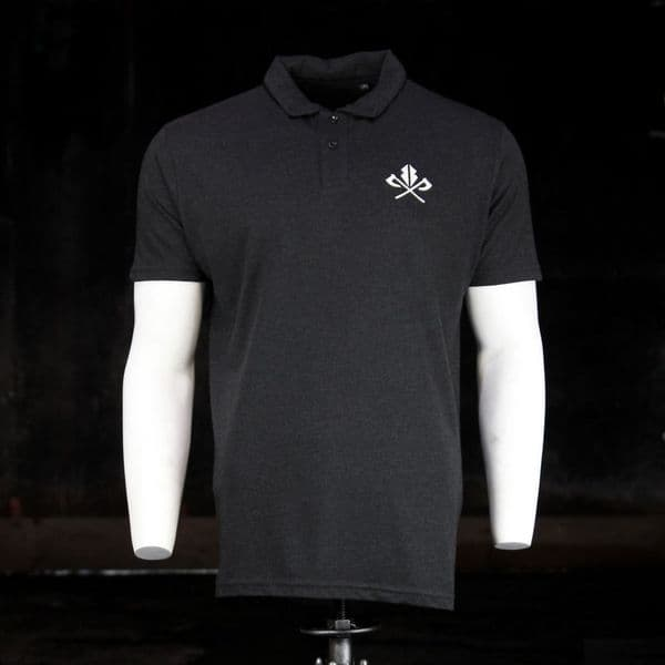 Triblend Polo  - Heather Black Viking inspired clothing brand