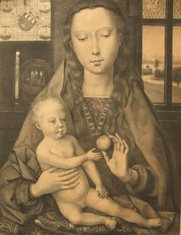Adolphe Crauk; Hans Memling The Virgin Madonna with an Apple 1800's