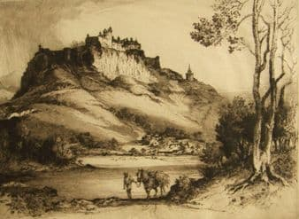 Albany E. Howarth 1910 etching; Stirling Castle, Scotland