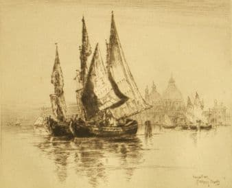Albany E. Howarth 1919 etching;  Fishing Boats, Venice