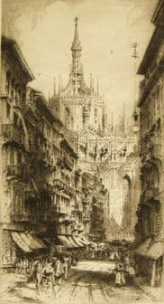 Albany E. Howarth ; etching 'Duomo Cathedral Milan' 1917
