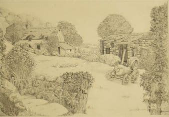 Alfred Sharp etching; Meadow Farm, Hope Sufferance proof 1989