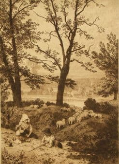 Birket Foster monogrammed 'Little Shepherds' etching 1885