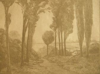 Simon Moulijn (Dutch) ; 'Landscape with Spring' 1800's