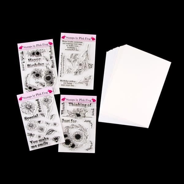 4 x Floral A5 Stamp Sets with Free Card