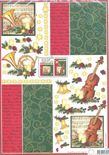 Christmas Musical Instruments 3D Decoupage