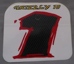 Genuine Malaguti Grizzly 10 Front Number Plate Decal (White / Black) 181.015.01.01