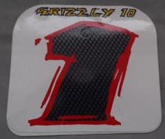 Genuine Malaguti Grizzly 10 Front Number Plate Decal (White / Violet) 181.015.06.01