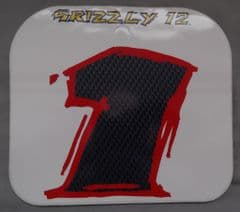 Genuine Malaguti Grizzly 12 Front Number Plate Decal (White / Violet) 181.016.06.01