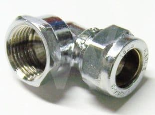 """15mm x 1/2"""" compression chrome elbow adaptor female fitting (Bag of 10=£22.50)"""