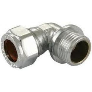 "15mm x 1/2"" compression chrome elbow adaptor male fitting (Bag of 10=£22.50)"