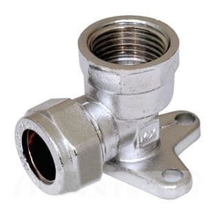"""15mm x 1/2"""" compression chrome wall plate elbow fitting (Bag of 10=£31.50)"""