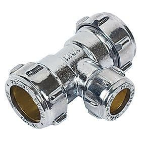 22 x 22 x 28mm compression chrome reducing tee fitting (Bag of 10=£107.10)