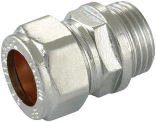 """28mm x 1"""" compression chrome straight adaptor male fitting (Bag of 5=£22.05)"""