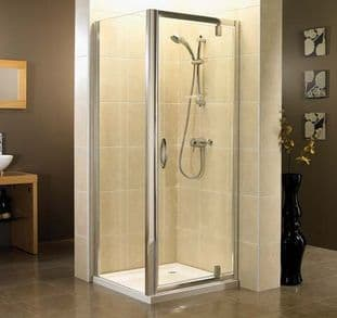 April Identiti2 Pivot Shower Door Polished Silver 840mm - 890mm