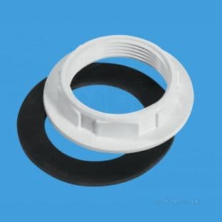 """McAlpine BN1 White plastic with Rubber washer backnut 1 1/4"""" x 60mm flange"""