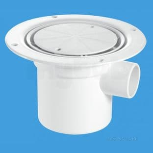 McAlpine TSG3WH Trapped gully & water seal, White plastic clamp ring & cover plate