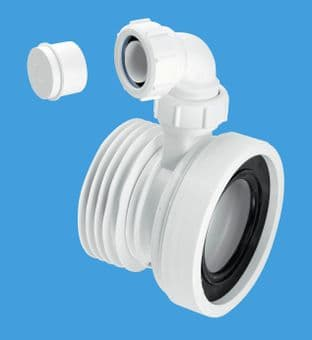 """McAlpine WC-CON1V Straight 4"""" 110mm Rigid WC Connector with 1 1/4"""" Vent Boss"""
