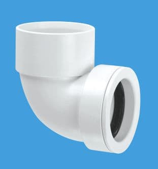"""MS4-32Solvent 1 1/4"""" 90º Bend Solvent Weld x 32mm European pipe size Ring Seal Pushfit. McAlpine"""